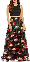 Sequin Hearts Shadow Stripe Floral-Print Skirt Long Two-Piece Dress