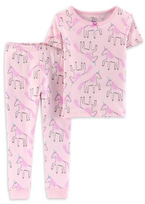 Little Planet Organic by Carter's Toddler Girls Snug Fit Organic Cotton Short Sleeve Pajamas, 2-Piece PJ Set (2T-5T)