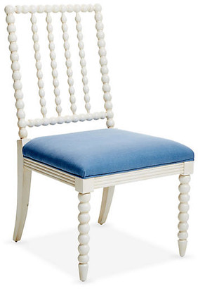 One Kings Lane Barton Side Chair - Ivory/Chambray Linen - frame, ivory; upholstery, chambray