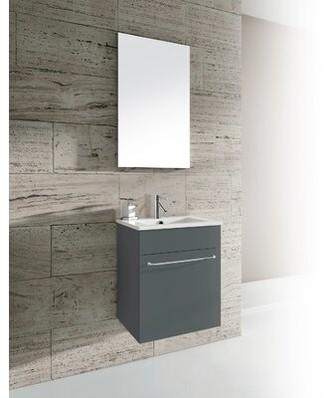 "Peri Orren Ellis 16"" Single Bathroom Vanity with Mirror Orren Ellis Base Finish: Anthracite"