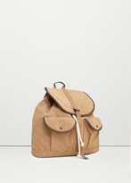 MANGO MAN Canvas Mixed Backpack