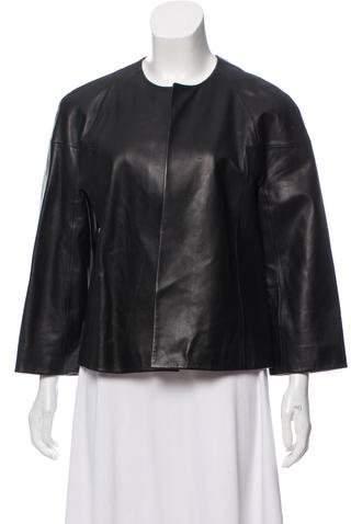 Michael Kors Leather Three-Quarter Sleeves Jacket