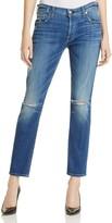 7 For All Mankind Josefina Skinny Boyfriend Jeans in Barrier Reef Broken Twill