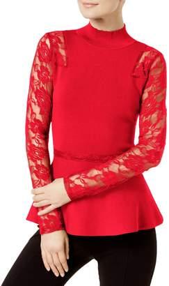 INC International Concepts Petite Lace-Sleeve Mockneck Top