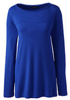 Classic Women's Long Sleeve Easy A-line Tunic-Navy Blue Metal