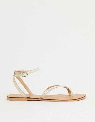 Topshop Premium leather sandal in cream