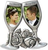 Malden International Designs Champagne Glasses Metal Wedding Picture Frame, 2 Option, 2-2x3, Silver