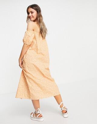 Monki Noa bardot puff sleeve midi dress in peach floral