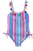 Betsey Johnson Striped Pompom One-Piece Swimsuit (Big Girls)