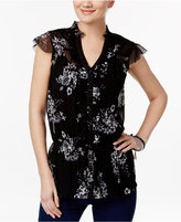 INC International Concepts Ruffled Floral-Print Shirt, Only at Macy's