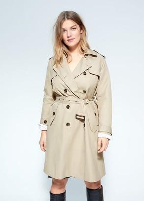 MANGO Violeta BY Classic cotton trench coat beige - XXL - Plus sizes