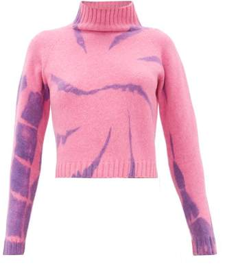 The Elder Statesman Highland Tie-dyed Cropped Cashmere Sweater - Womens - Pink