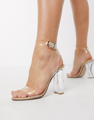 Steve Madden Clearer going out heeled sandals in clear