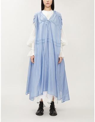 Renli Su Asymmetric silk and linen-blend midi dress