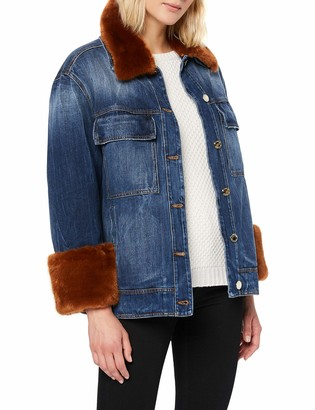 Pinko denim jacket with faux fur details