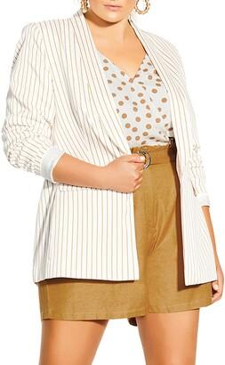 City Chic Elegant Stripe Longline Jacket