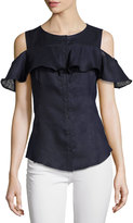 Neiman Marcus Ruffled Cold-Shoulder Linen Top, Navy