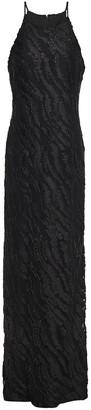 Halston Metallic Fil Coupe Gown