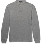 Polo Ralph Lauren Slim-fit Knitted Mélange Cotton Polo Shirt - Gray