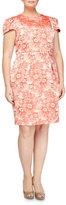 Carmen Marc Valvo Rose-Jacquard Cap-Sleeve Dress, Coral, Women's