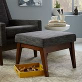 Faceted Wood Frame Ottoman