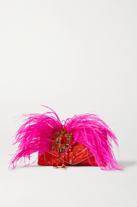 Dries Van Noten Envelope Small Feather And Crystal-embellished Jacquard Clutch - Red