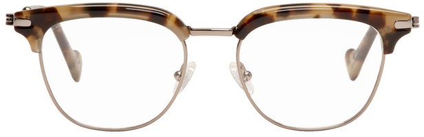 Moncler Beige Tortoiseshell ML5021 Glasses