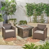 Helena Outdoor 3 Piece Wicker Print Sofa Seating Group with Cushions Alcott Hill Frame Color / Cushion Color: Brown Frame / Mixed Beige Cushion