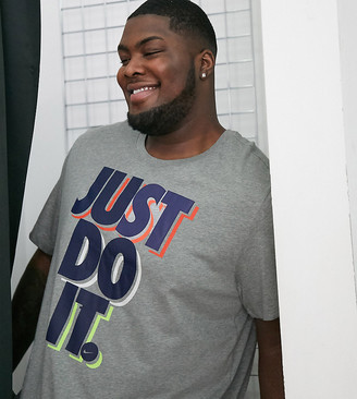Nike tall Just Do It t-shirt in gray