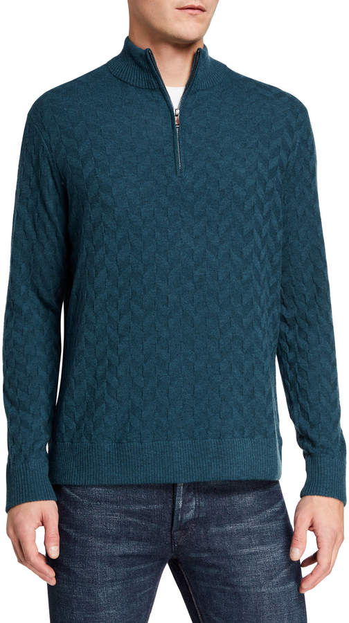 Robert Graham Men's Rowley Textured Quarter-Zip Sweater, Extended Sizes