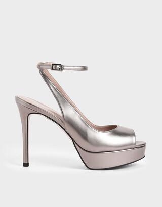 Charles & Keith Metallic Ankle Strap Platform Heels