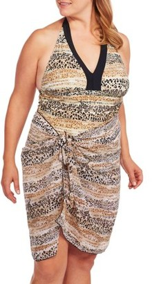 Unbranded Women's Plus-Size Leopard Halter Tankini Swimsuit Set with Matching Sarong