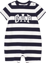 Gap Navy and White Stripe Logo Short Onesie