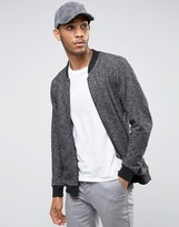 ONLY & SONS Zip Through Jersey Bomber In Mixed Yarn Detail
