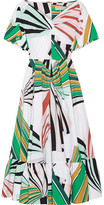 Emilio Pucci Pleated Printed Stretch-cotton Poplin Midi Dress - Green