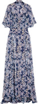 Temperley London Ruffled Printed Silk-georgette Gown - Blue