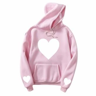 Soonerquicker Hoodies for Teens Girls Cute Jumpers Women Plus Size Long Sleeve Tops Pullover Sweatshirts Pocket Heart-Shaped Printed Casual Pink