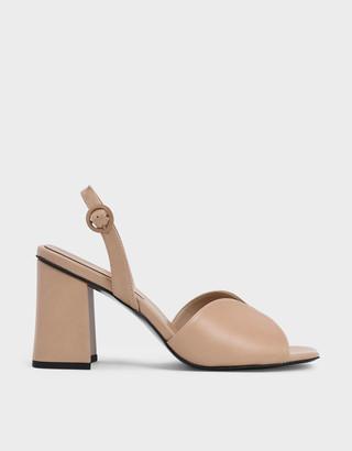 Charles & Keith Open Toe Slingback Block Heel Sandals