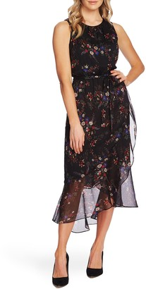 Vince Camuto Floral Belted Ruffle Chiffon Dress