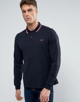 Fred Perry Polo Shirt With Long Sleeves In Navy