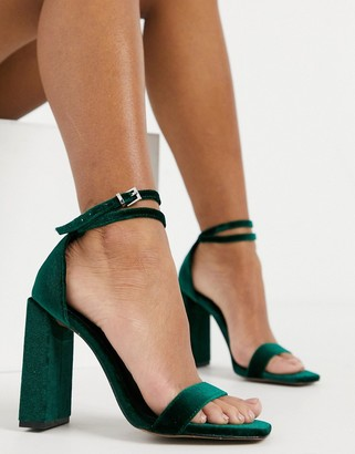 ASOS DESIGN Notice barely there heeled sandals in forest green