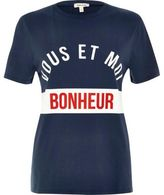 River Island Womens Navy 'Bonheur' print T-shirt