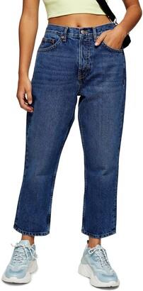 Topshop Editor High Waist Crop Straight Leg Jeans