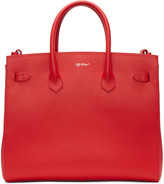 Off-White Red Small Cut Flap Tote
