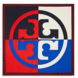 Tory Burch Color Blocked Logo Silk Scarf