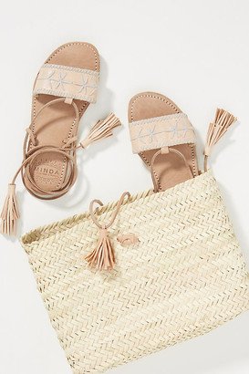 Minda Embroidered Ankle-Tie Sandals By Minda in Beige Size 37