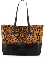 Tom Ford Leopard-Print Calf Hair T Tote Bag