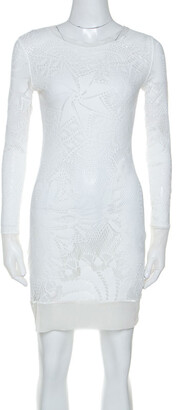 Jean Paul Gaultier Soleil White Stretch Lace Sheer Dress L