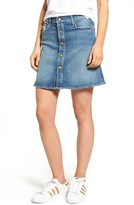 Mother Women's Miranda + The Snap Down Flare Denim Miniskirt