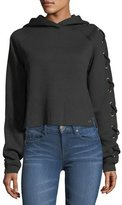 True Religion Lace-Up Raglan Cropped Hoodie